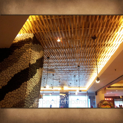 Woven Bamboo Ceiling Chicken Story - BA15