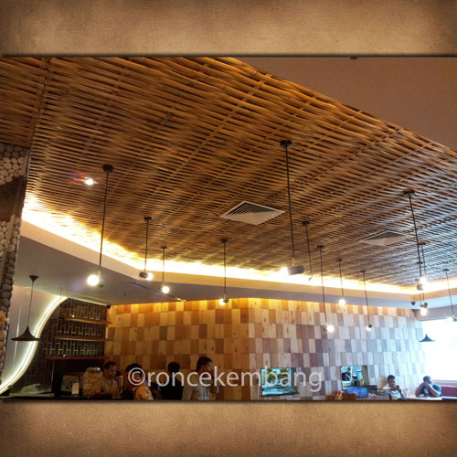 Woven Bamboo Ceiling Chicken Story - BA15, Woven with the same spacing